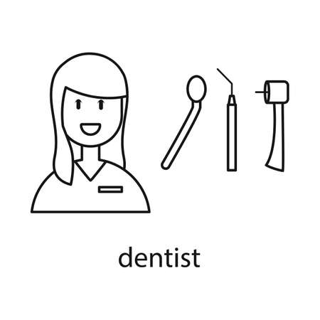 Vector illustration of dentist and woman sign. Collection of dentist and teeth stock symbol for web.