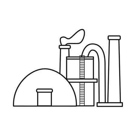 Vector illustration of factory and storage. Set of factory and production stock symbol for web.