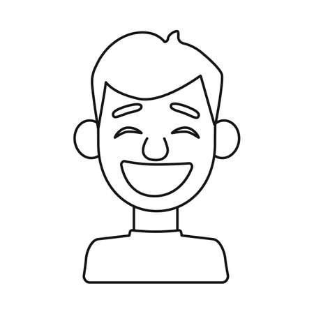 Isolated object of guy and laugh. Collection of guy and emotion vector icon for stock.