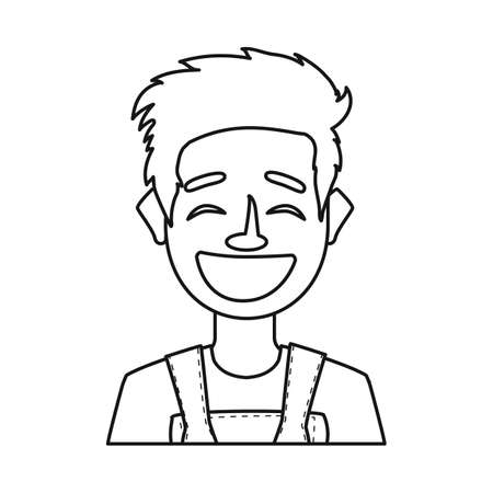 Vector illustration of guy and laugh sign. Set of guy and emotion stock vector illustration.