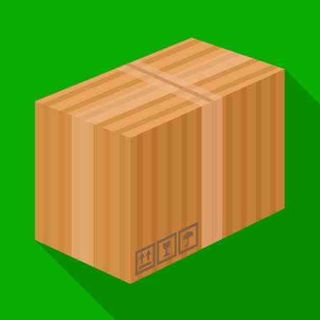 Vector illustration of box and cardboard sign. Graphic of box and brown stock vector illustration. Illustration