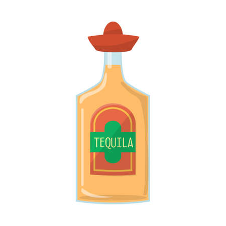 Vector design of bottle and tequila symbol. Graphic of bottle and glass stock vector illustration.