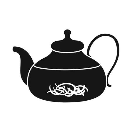 Isolated object of teapot and hibiscus symbol. Graphic of teapot and tea vector icon for stock.