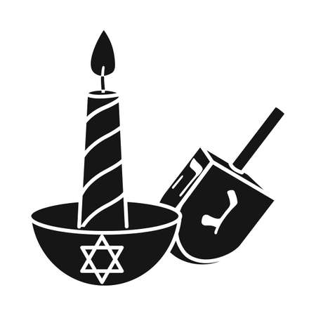 Vector illustration of candle and dreidel symbol. Graphic of candle and star stock vector illustration.