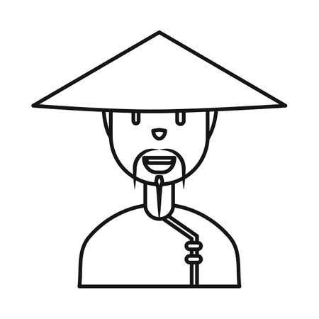 Vector illustration of vietnamese and portrait symbol. Collection of vietnamese and costume stock symbol for web.