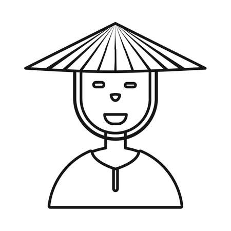 Isolated object of vietnamese and portrait. Set of vietnamese and costume stock symbol for web.