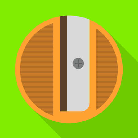 Vector design of sharpener and round. Graphic of sharpener and yellow stock symbol for web.