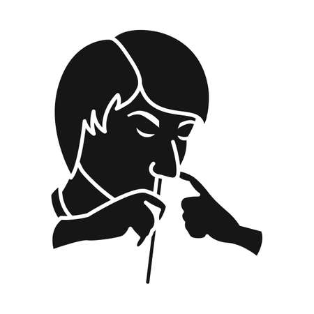 Vector illustration of junkie and cocaine. Web element of junkie and tube stock vector illustration.