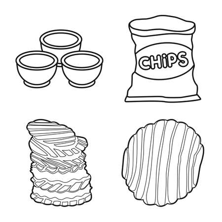 Vector illustration of chips and crisp. Set of chips and food stock symbol for web.
