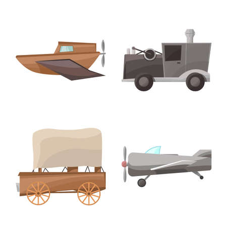 Vector illustration of retro and vintage icon. Collection of retro and transport stock symbol for web. Illustration
