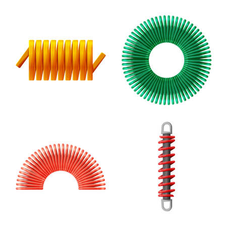 Vector illustration of flexible and spiral. Set of flexible and pressure stock vector illustration. Illustration