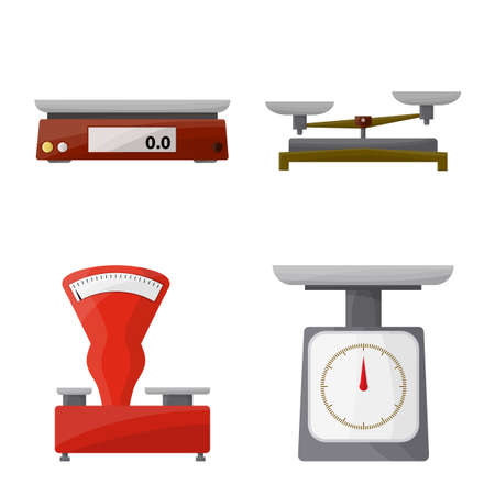 Vector illustration of weigher and balance. Collection of weigher and weight vector icon for stock.