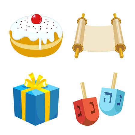 Vector illustration of hanukkah and gift sign. Collection of hanukkah and greeting stock symbol for web. Illustration