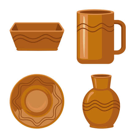 Vector illustration of kitchen and tableware icon. Collection of kitchen and pottery stock symbol for web.