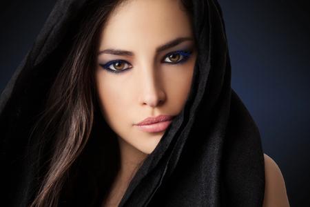 beautiful woman portrait with expressive look, studio