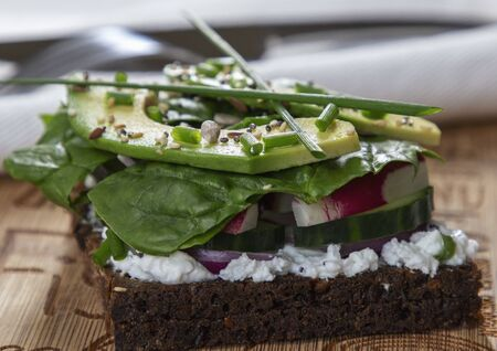 healthy cool sandwich with greens and avocado Reklamní fotografie
