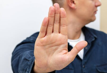 palm gesture stop talk with hand male