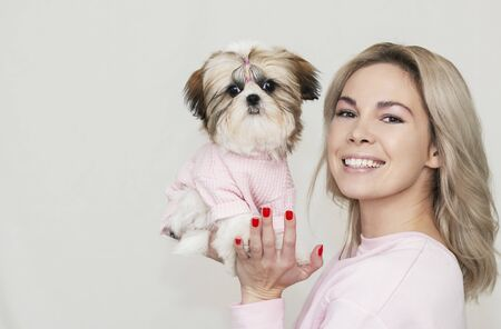 beautiful cute girl holding a well groomed shih tzu puppy in pink sweater