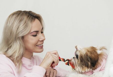 girl playing with shih tzu, pulling a rope, wearing pink sweaters