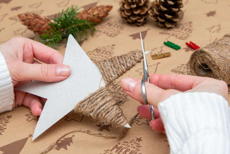 handmade items for christmas tree star on a background with inscription merry christmas Reklamní fotografie - 162625307