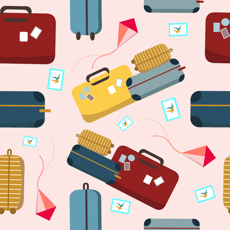 Pattern texture with travel colorful suitcase, kite and stamp design vector illustration, travel style Stock Illustratie