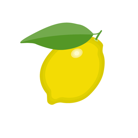 Lemon fruit with green leave icon on isolated background concept for farmers market organic food in flat style vector illustration