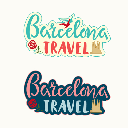 Barcelona travel lettering set with Cathedral silhouette, rose and birds tourist design style template, brochure, sticker, invitation. Vector illustration Vettoriali