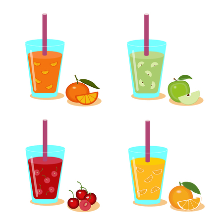 Smoothie shake set glass with organic food fruit cocktail, juice, fresh on isolated background. Vector fruits and berries Ilustração