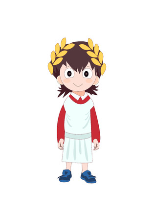 Boy wearing Ancient Rome costume for school history. Vector illustration