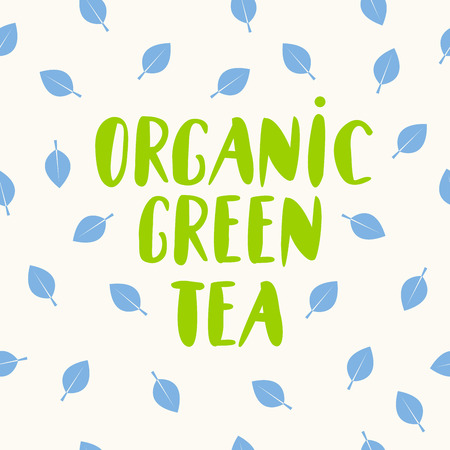 Organic green tea lettering, organic eco food logo, emblem, icon, natural product design with leaf on background, Vector illustration  イラスト・ベクター素材