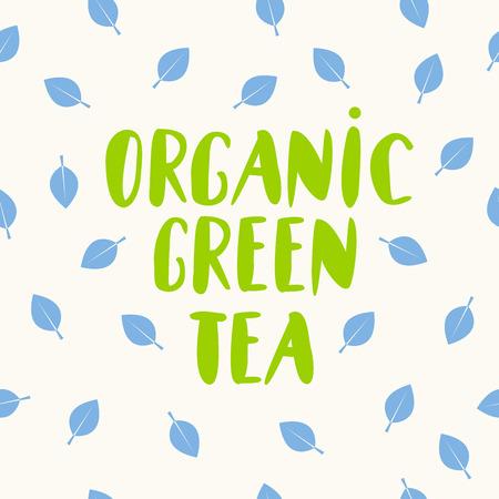 Organic green tea lettering, organic eco food logo, emblem, icon, natural product design with leaf on background, Vector illustration Illustration