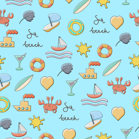Summer Pattern with sea,crab, ships, sun, boat, heart,rubber ring and waves on background. Vector illustration
