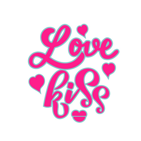 Love kiss lettering hand drawn text as badge, icon, poster, sticker, card, romantic quote with hearts and lips on background