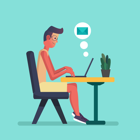Young Man working on laptop. Flat cartoon person character, freelancer workplace, work desk. Vector illustration Stock Illustratie