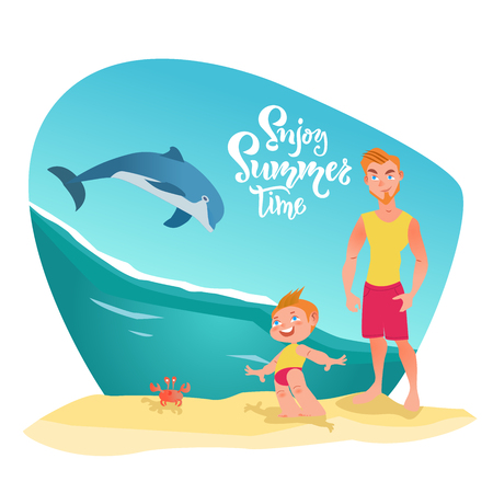 Family characters on the beach and dolphin in ocean. Enjoy summer time lettering, quote. Happy moment, time, holiday with family. Vector illustration Vector Illustratie