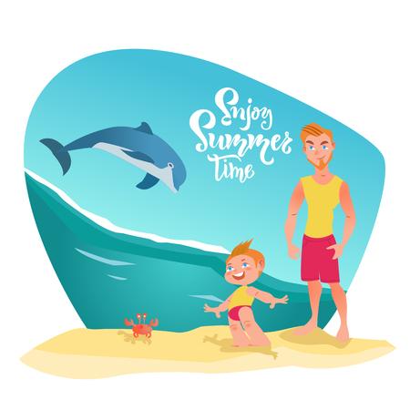 Personajes familiares en la playa y delfines en el océano. Disfrute de letras de horario de verano, cotización. Momento feliz, tiempo, vacaciones en familia. Ilustración vectorial Ilustración de vector
