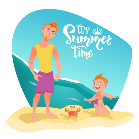 Family characters on the beach. Its summer time lettering, quote. Happy moment, time, holiday with family. Vector illustration with ocean background
