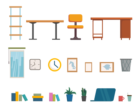 Office furniture and interior objects collection SET, room design, cartoon flat stile. Vector illustration