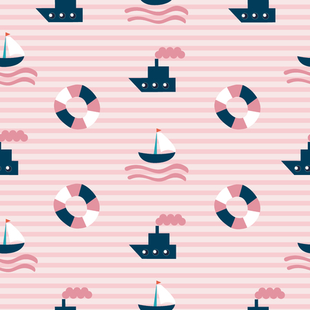 Seamless Sea Pattern with hand drawn boat, lifeboat and strips on background as fabric, textile, clothes. Vector illustration