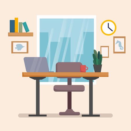 The workplace interior cartoon design with furniture, books. Freelancer, designer office workstation. Business concept flat style cartoon vector illustration Stock Illustratie
