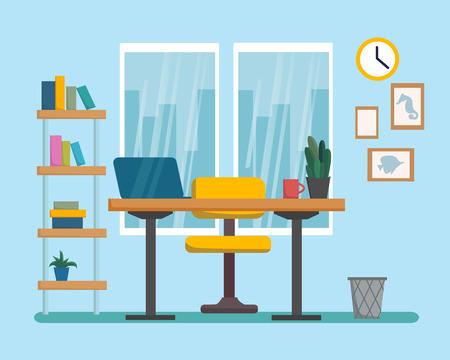 The workplace interior cartoon design. Freelancer, designer office workstation. Business concept flat style cartoon vector illustration Stock Illustratie