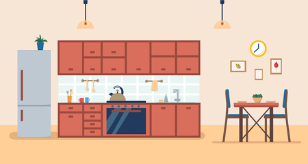 Kitchen interior with furniture and stove, cupboard, fridge, utensils and dinner table. Flat cartoon style vector illustration.
