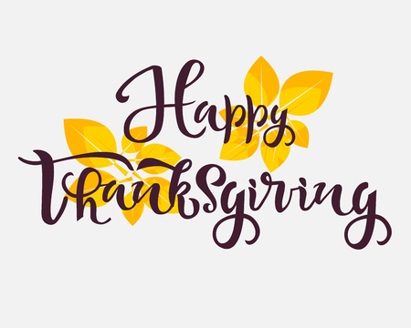 Happy thanksgiving text. Calligraphy, lettering design. Typography for greeting cards, posters, banners. Vector illustration