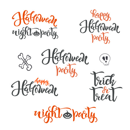 Happy Halloween holiday concept text SET. Calligraphy, lettering design. Typography for greeting cards, posters, banners Illustration