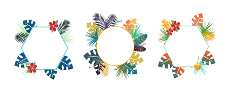 Tropical background SET with colorfull troical leaves. Herbal design with plants for cards, invitation, greeting design with blank space for a text