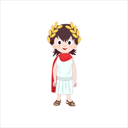 Ancient rome cartoon character of boy wearing traditional costume. Vector illustration.
