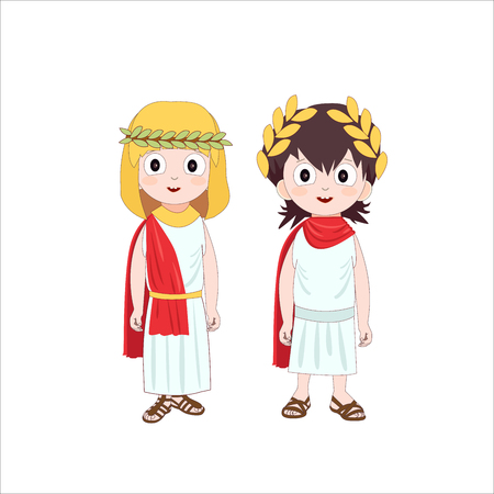 Ancient rome cartoon characters of boy and girl wearing traditional costumes. Vector illustration.