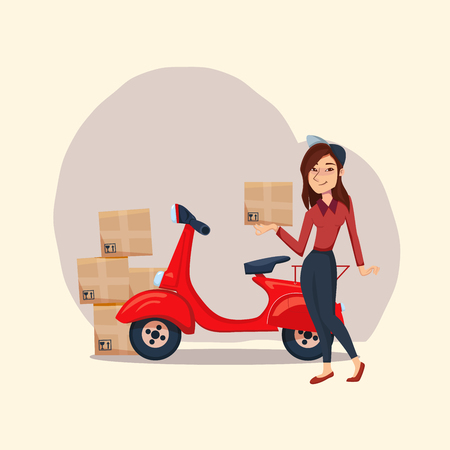 Delivery Girl with cardboard parcel box. Fast Delivery service by courier on the scooter. Vector female cartoon character illustration. Delivery concept.