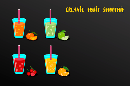 Set of fruit smoothies in a glass with ingredients fresh orange, apple, tangerine and cherry. Organic health smoothie. Vector illustration Illustration
