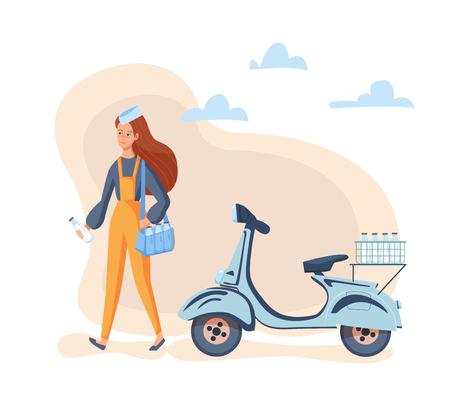 Fast milk delivery service concept on the scooter. Young Girl courier in uniform holding bottle of milk and bag. Vector illustration.